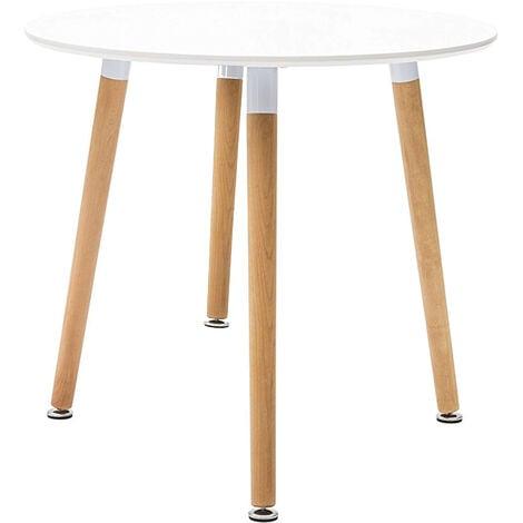 Gambe In Legno Per Tavoli.Tavolo Da Pranzo Moderno Di Design Rotondo Fisso In Abs Bianco