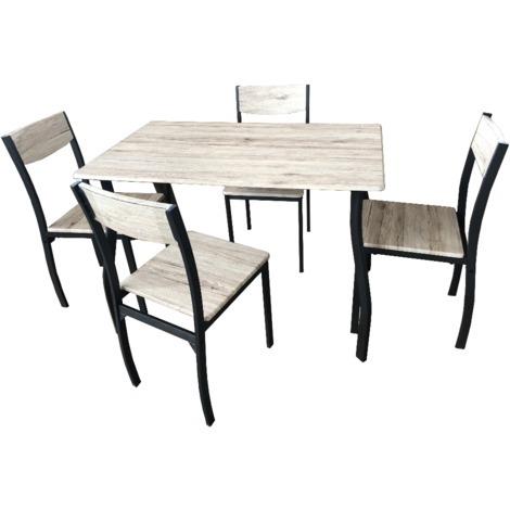 Tavolo In Legno Con 4 Sedie.Tavolo Da Pranzo Rettangolare Con 4 Sedie In Legno Beige E Nero