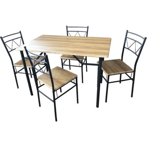 Tavolo da pranzo rettangolare con 4 sedie in legno beige per cucina