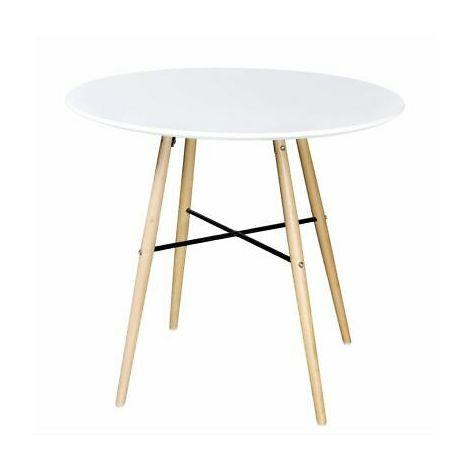 Tavolo da pranzo rotondo con telaio in legno colore bianco opaco