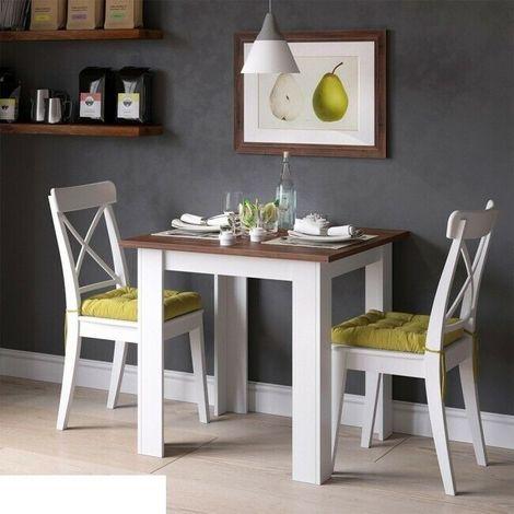 Tavoli Da Pranzo In Stile.Tavolo Da Pranzo Stile Rustico In Legno 80x76 6x80 Quadrata Bianco