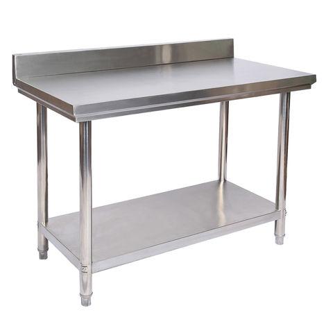 Tavolo di lavoro in acciaio inox con bordo di protezione