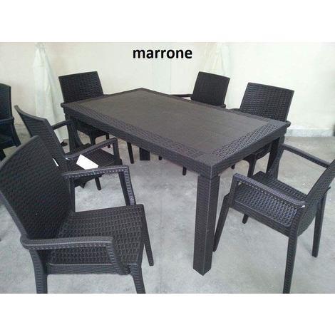 Sedie E Tavoli Da Giardino In Vimini.Tavolo E Sedie 4 6 Da Giardino Poltrone Set Rattan Terrazzo Bar