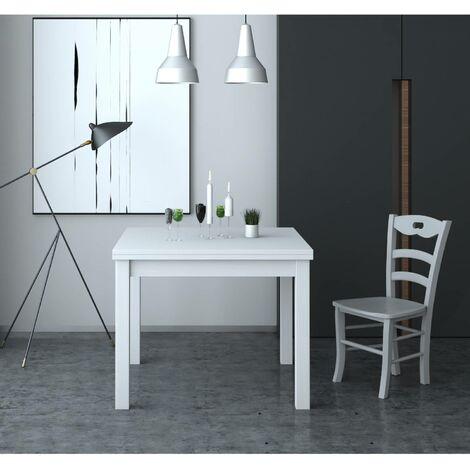 Tavolo Firenze 90x90 cm allungabile bianco frassinato | bianco