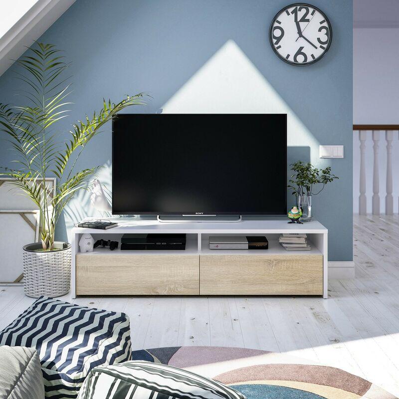 Meuble Tv 130 cm avec deux portes en chêne canadien et en blanc mat | Couleur