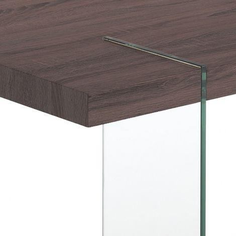 Tavolo Fisso Waver Dark Wood Di Tomasucci Con Struttura In Vetro E Piano In Legno Noce