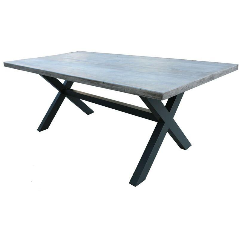 Tavolo da esterno 200x100 cm in alluminio antracite con piano in resin cement | Alluminio