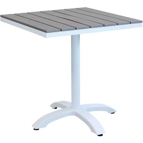 Tavoli Da Esterno Per Ristoranti.Tavolo Giardino Quadrato Fisso In Alluminio Bianco 70 X 70 Con Piano