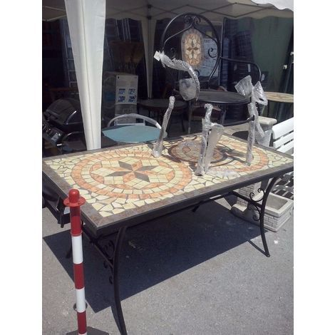 Tavoli Da Giardino In Ferro Con Mosaico.Tavolo In Pietra Ferro Battuto Con Mosaico Cm 160 Tipo Pesante 90kg