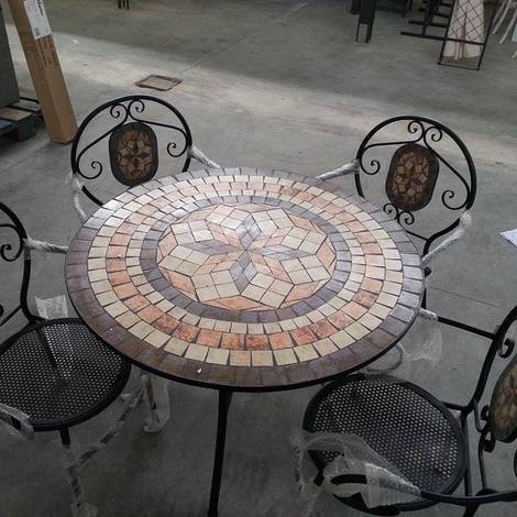 Tavolo Tondo In Ferro Battuto.Tavolo In Pietra Ferro Battuto Con Mosaico Cm 95 Tipo Pesante 45kg Decorato