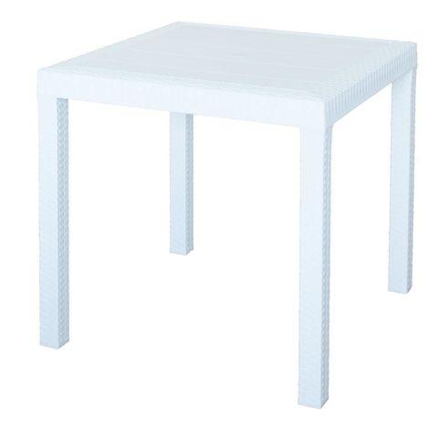 Tavolo da pranzo quadrato 80x80 esterno bianco modello Dallas arredo giardino