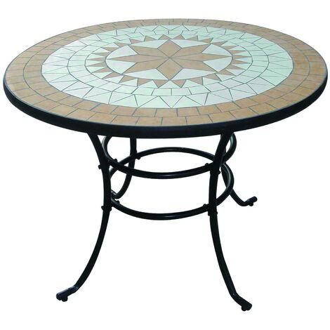 Tavolo Da Giardino In Ferro E Mosaico.Tavolo Liberty Mosaico In Acciaio Decorazioni Ad Intarsio D 100x75h