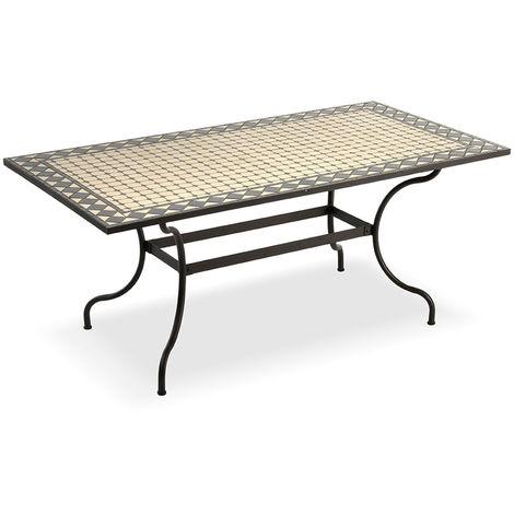 Tavoli Da Giardino Con Piano In Ceramica.Tavolo Per Esterni Rettangolare Con Piano D Appoggio In Mosaico Di Ceramica 160 Centimetri