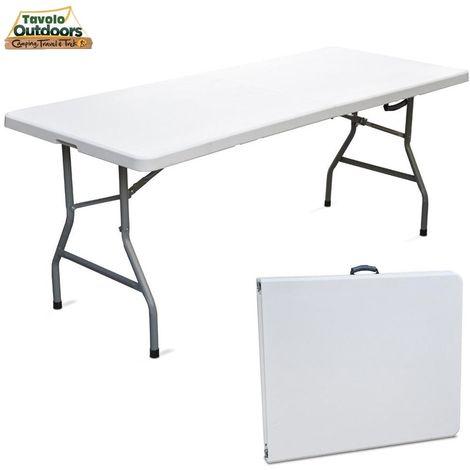 Tavoli In Plastica Pieghevoli.Tavolo Pieghevole In Resina 183x76x72cm Metallo Richiudibile A