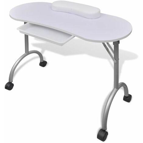 Tavolo Pieghevole Con Ruote.Tavolo Pieghevole Per Manicure Con Ruote Bianco Tavolino Unghie