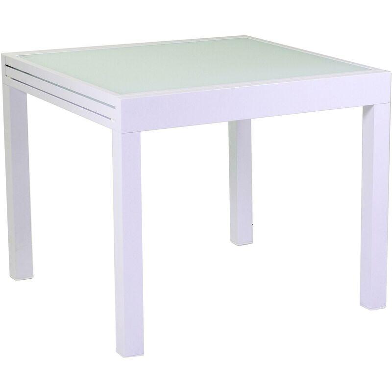 Tavolo Quadrato Allungabile Da Giardino 90x90 Cm In Alluminio Adami Boise  Bianco
