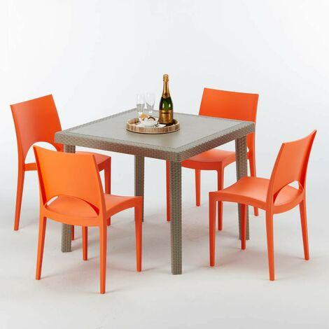 Tavolo 8 Sedie Rattan.Tavolo Quadrato Beige 90x90 Cm Con 4 Sedie Colorate Elegance