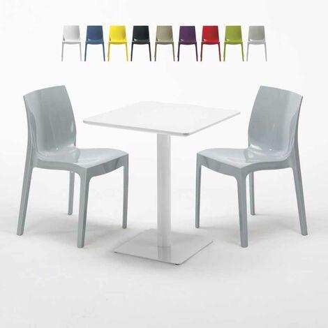 Tavolo Quadrato Con Sedie.Tavolo Quadrato Bianco 60x60 Cm Con 2 Sedie Colorate Ice Lemon