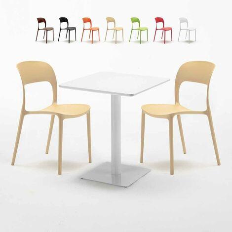 Tavolo Quadrato Con Sedie.Tavolo Quadrato Bianco 60x60 Cm Con 2 Sedie Colorate Restaurant Lemon