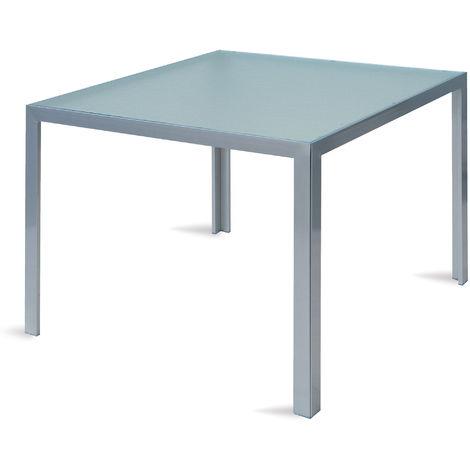 Tavolo Da Giardino 90x90.Tavolo Quadrato Da Giardino 90x90 Cm In Alluminio E Vetro Vorghini Amalfi