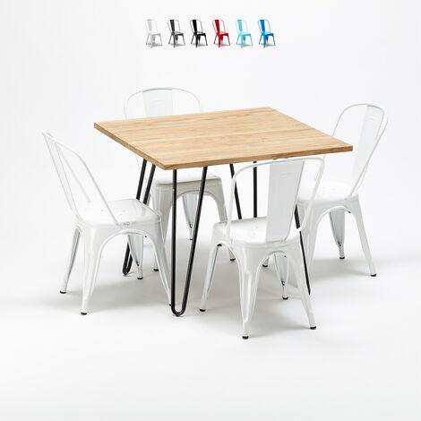 Tavolo quadrato e sedie in metallo e legno in stile Tolix ...