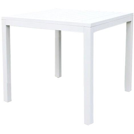 Tavolo Quadrato Da Esterno.Tavolo Quadrato Fisso In Alluminio Bianco 80 X 80 Da Esterno