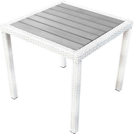 Tavolo Giardino Rattan Sintetico.Tavolo Quadrato Fisso In Wicker Bianco 80 X 80 Piano In Polywood