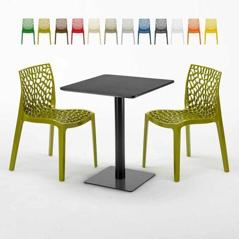 Tavolo Con Sedie Colorate.Tavolo Quadrato Nero 60x60 Cm Con 2 Sedie Colorate Gruvyer