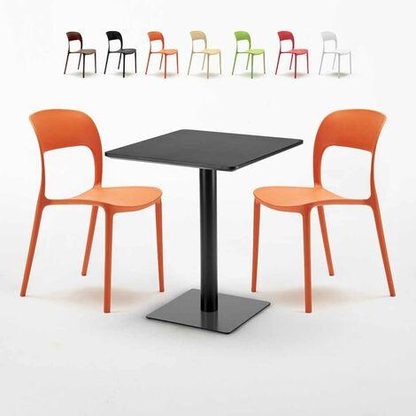 Tavolo Quadrato Con Sedie.Tavolo Quadrato Nero 60x60 Cm Con 2 Sedie Colorate Restaurant