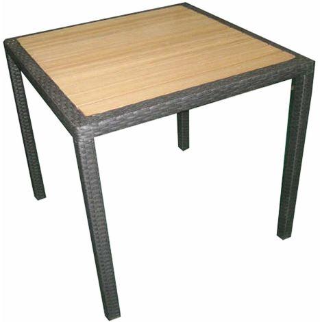 Tavolo quadrato per bar giardini e pizzerie in rattan e legno ...