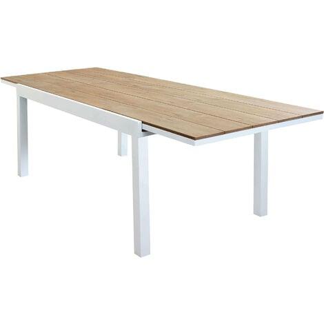 Tavolo 90 X 90 Allungabile Bianco.Tavolo Rettangolare Allungabile In Alluminio Bianco E Polywood