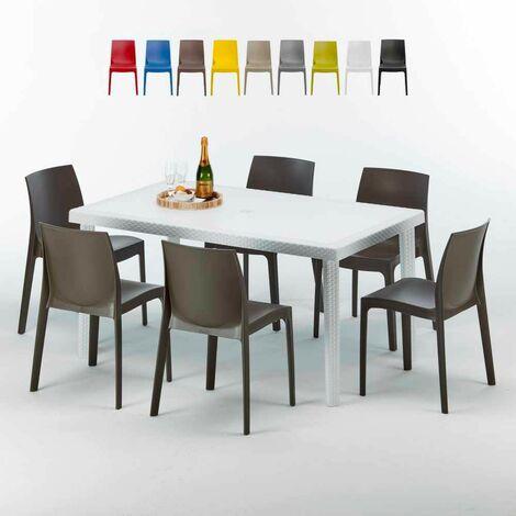 Tavolo Rettangolare Bianco 150x90 cm con 6 Sedie Colorate ROME SUMMERLIFE