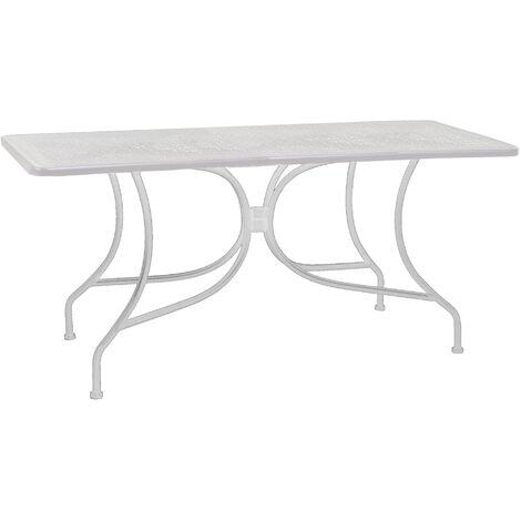 Tavolo Ferro Bianco.Tavolo Rettangolare Da Giardino 160x80 Cm In Ferro Adami Ivrea Bianco
