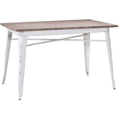 Tavolo Antico Bianco.Tavolo Rettangolare In Metallo Top Legno Adami Bristol Bianco Antico