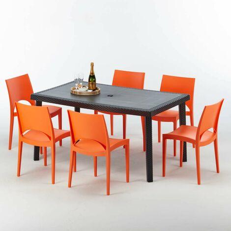 Sedie Colorate Da Giardino.Tavolo Rettangolare Con 6 Sedie Rattan Sintetico Giardino Colorate
