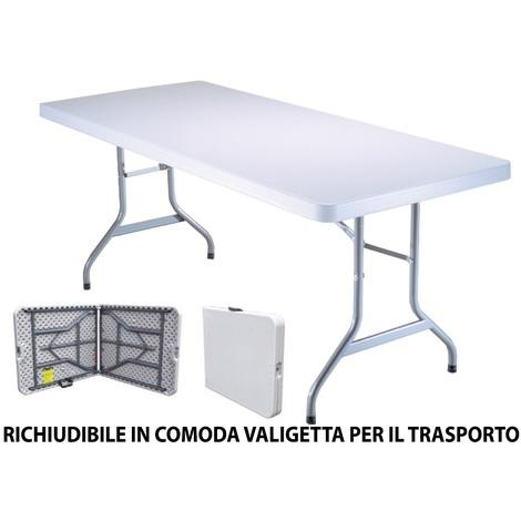 Tavolo Richiudibile A Valigetta.Tavolo Rettangolare Pieghevole Richiudibile Valigetta In Plastica Resina Bianco