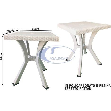 Tavolo In Rattan Bianco.Tavolo Rigoletto Rattan Cm 60x60x70h Bianco