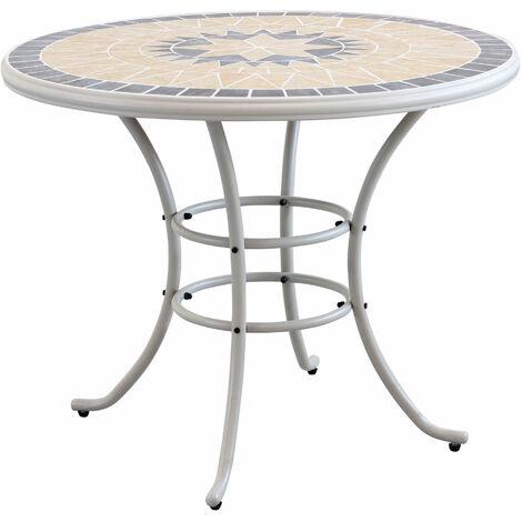 Tavolo Da Giardino Tondo Ferro.Tavolo Rotondo Fisso In Ferro Diametro 90 Piano In Mosaico Per