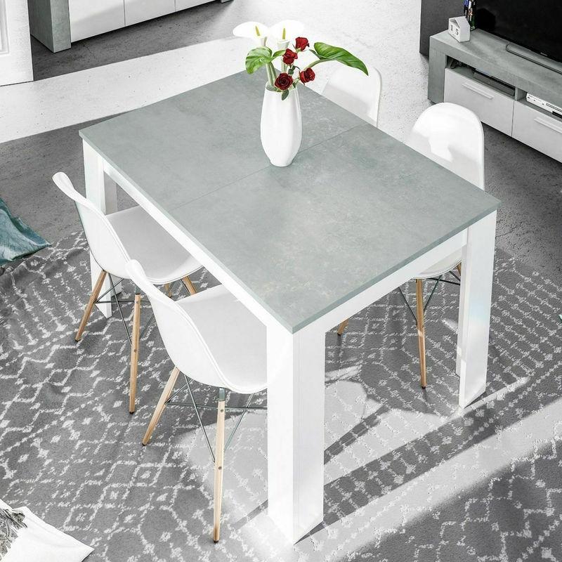 Tavolo sala da pranzo allungabile 90x140/190x78 bianco cemento ...