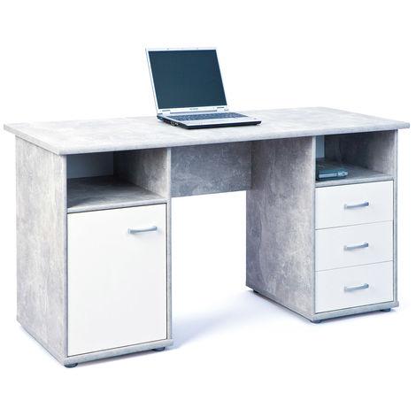Tavolo scrivania grigio cemento 150 porta pc computer for Tavolo scrivania
