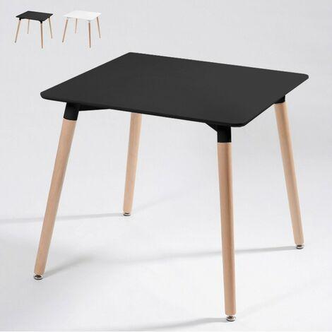 Tavolo Soggiorno quadrato in legno e polipropilene 80x80 WOODEN