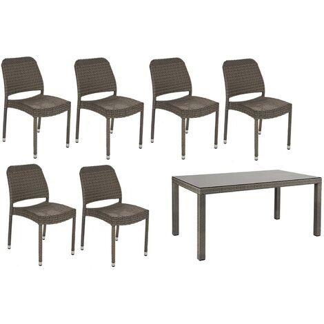 Mobili Da Giardino Polyrattan.Tavolo Tavoli Da Giardino Per Esterno In Polyrattan Lancaster Con Sedie Bizzotto