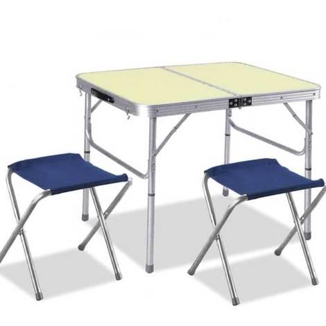 Tavoli Pieghevoli Pic Nic.Tavolo Tavolino Alluminio Pieghevole Da Campeggio Picnic 90x60cm Con 2 Sgabelli