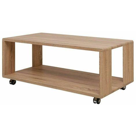Tavolino Salotto Con Rotelle.Tavolo Tavolino Caffe Da Salotto Soggiorno Con Rotelle E Ripiano