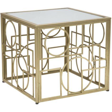 Tavolo In Ferro E Vetro.Tavolo Tavolino Da Caffe Quadrato In Ferro E Vetro Oro Da Interno