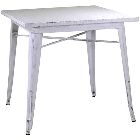 Tavolo Antico Bianco.Tavolo Tavolino Quadrato Bristol Bianco Antico In Ferro E Metallo Antiruggine Per Sedia Casa Bar Pranzo Ristorante Con Giunti Saldati