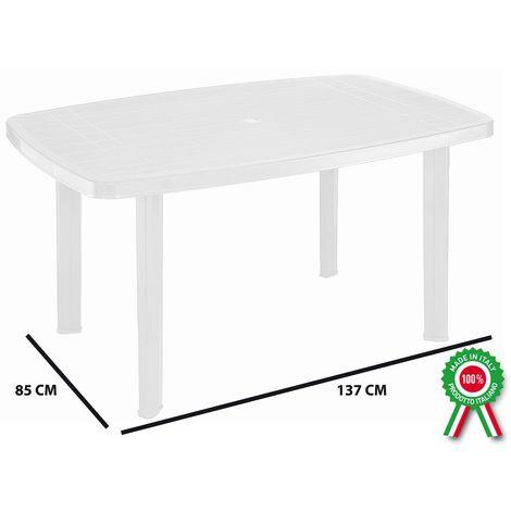 Tavoli Di Plastica Per Esterno.Tavolo Tavolino Rettangolare In Resina Di Plastica Bianco Faro Per