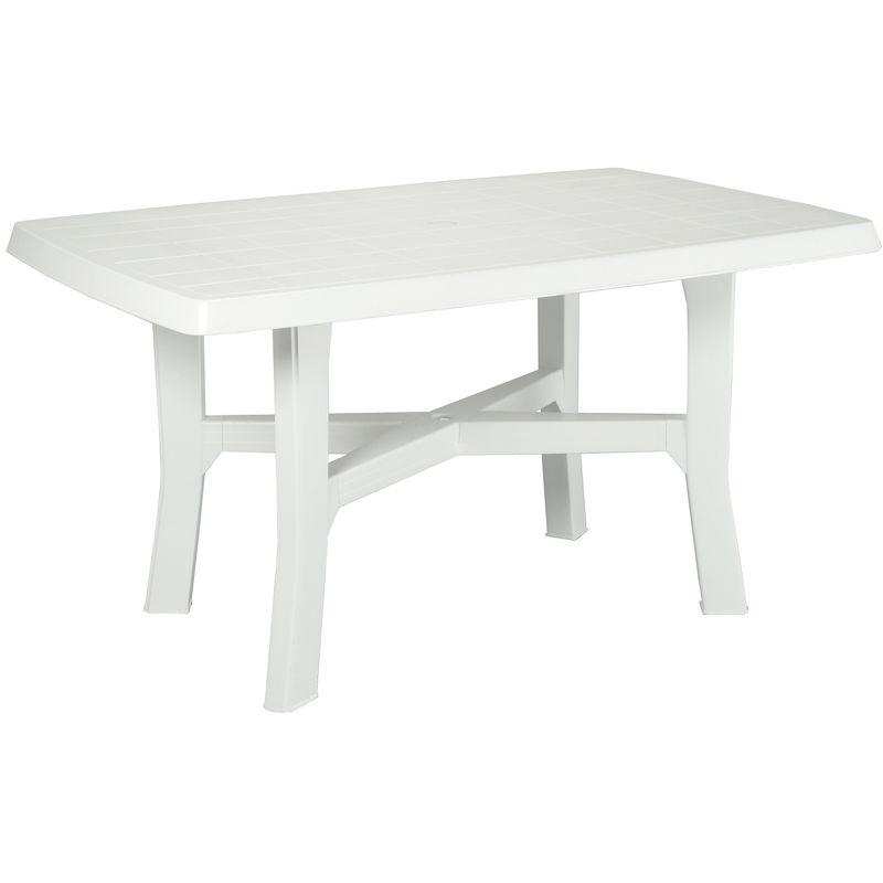Tavoli Da Bar Per Esterno.Tavolo Tavolino Rettangolare In Resina Di Plastica Bianco Per