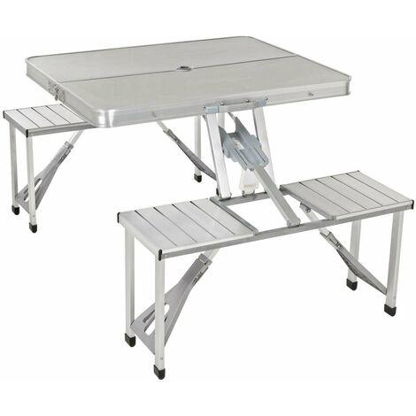 Tavolo Pic Nic Richiudibile.Tavolo Tavolino Valigetta Con Sgabelli Pieghevole Campeggio Mare Spiaggia In Alluminio
