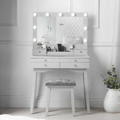 """main image of """"Taylor Grey Dressing Table with Oversized Hollywood Mirror"""""""